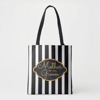 Tote Bag Mère des rayures modernes de noir de mariage de