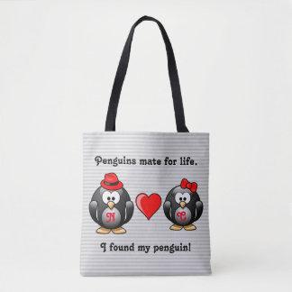 Tote Bag Mignon j'ai trouvé mon compagnon de pingouin pour