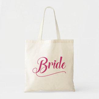 Tote Bag Millefeuille rose calligraphique de jeune mariée
