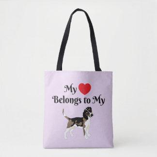 Tote Bag Mon coeur appartient à mon beagle Fourre-tout