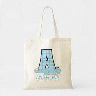 Tote Bag Monogramme A avec un nom d'alligator et de garçon