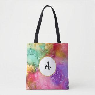 Tote Bag Monogramme abstrait artistique coloré d'aquarelle