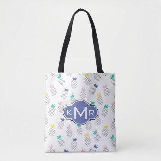 Tote Bag Monogramme abstrait des ananas |