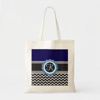 Tote Bag Monogramme bleu de noir de saphir de Chevron