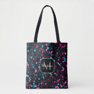 Tote Bag Monogramme bleu rose scintillant d'étincelles de