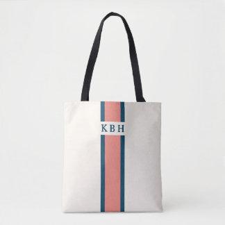 Tote Bag Monogramme classique de rayure de corail et de