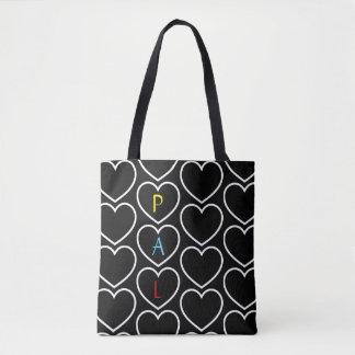 Tote Bag Monogramme de motif de coeur