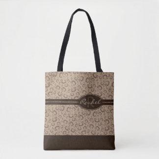 Tote Bag Monogramme de Taupe et de chocolat tout plus de -