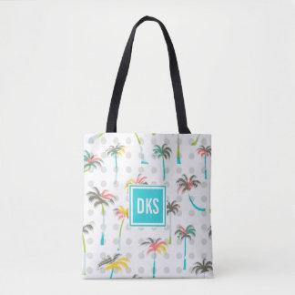 Tote Bag Monogramme des palmiers | d'aquarelle
