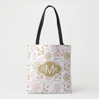 Tote Bag Monogramme d'or du motif | d'ancre
