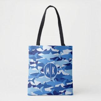 Tote Bag Monogramme du motif | de requin bleu