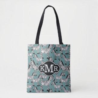 Tote Bag Monogramme du motif | de zèbre