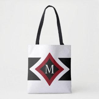 Tote Bag Monogramme en forme de diamant élégant de noir,