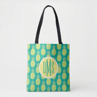 Tote Bag Monogramme en pastel des ananas |