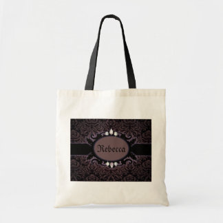 Tote Bag Monogramme gothique de damassé lilas noire de