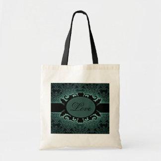Tote Bag Monogramme gothique de damassé turquoise noire de