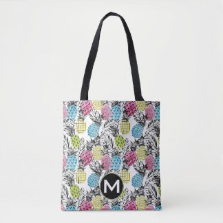 Tote Bag Monogramme grunge des paumes | d'ananas