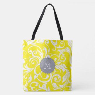 Tote Bag Monogramme jaune gris frais de remous de papier