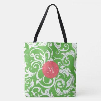 Tote Bag Monogramme juteux de remous de papier peint floral
