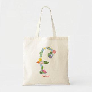 Tote Bag Monogramme lunatique rustique de fleur (f)