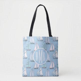 Tote Bag Monogramme mignon du motif | de voilier