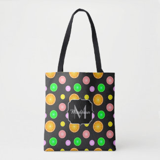 Tote Bag Monogramme orange de motif d'été de fruit de chaux