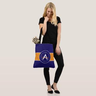 Tote Bag Monogramme orange et bleu personnalisé