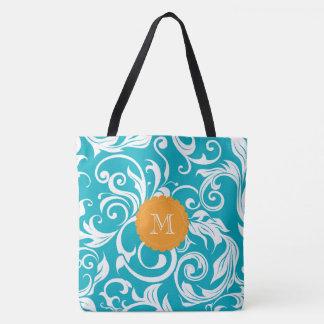 Tote Bag Monogramme orange turquoise de remous de papier