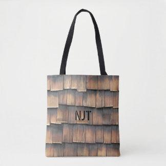 Tote Bag Monogramme : Photographie abstraite de bardeaux en