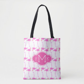 Tote Bag Monogramme rose du motif | de flamant