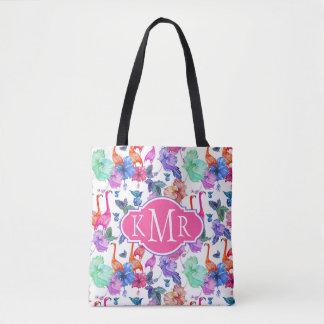 Tote Bag Monogramme tropical du motif | d'aquarelle