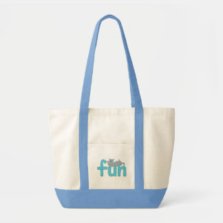 Tote Bag Mot d'amusement en aqua avec le chat gris