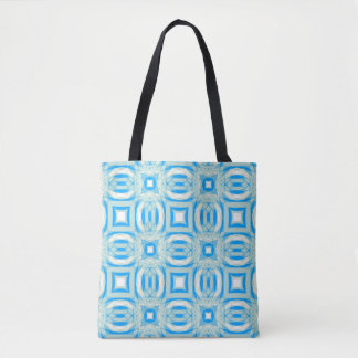 Tote Bag Motif bleu et blanc Fourre-tout de kaléidoscope