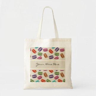 Tote Bag Motif coloré de macarons sur le gris avec le pois