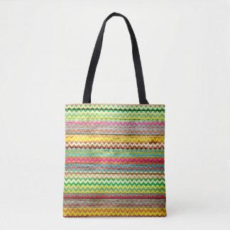 Tote Bag Motif coloré en bois moderne #2 de Chevron