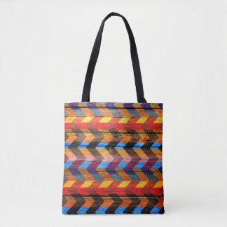 Tote Bag Motif coloré en bois moderne #43 de Chevron