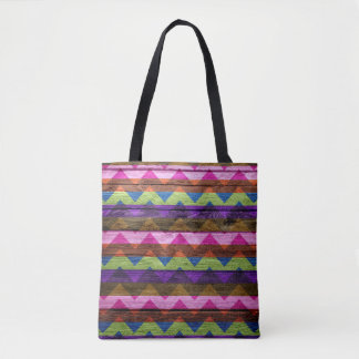 Tote Bag Motif coloré en bois moderne #44 de Chevron