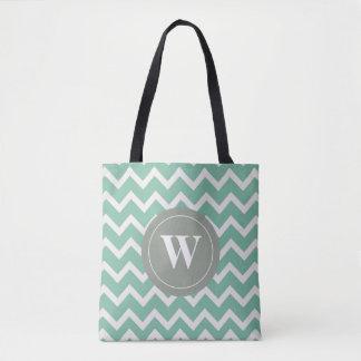 Tote Bag Motif de chevron de vert sauge de monogramme