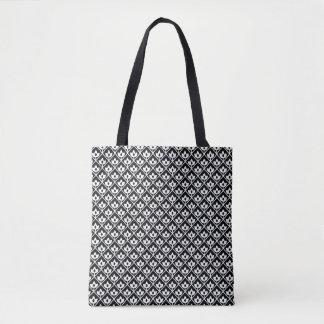 Tote Bag Motif de feuille de diamant dans le noir