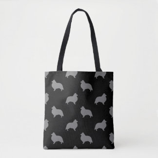 Tote Bag Motif de silhouettes de chien de berger de