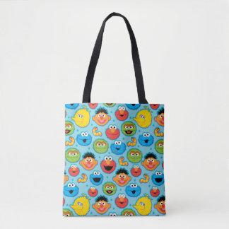 Tote Bag Motif de visages de Sesame Street sur le bleu