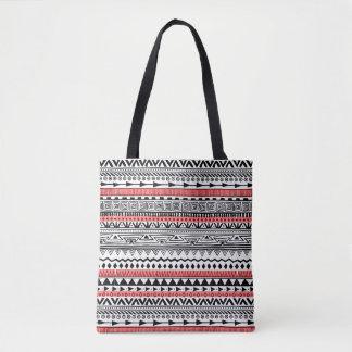 Tote Bag Motif du sud-ouest noir et blanc rouge