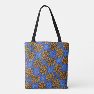 Tote Bag Motif floral abstrait d'orange et de bleu