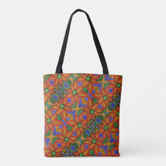 Tote Bag Motif floral bleu orange lunatique