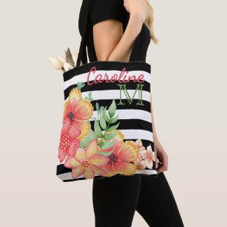 Tote Bag Motif floral mignon fait sur commande de rayures