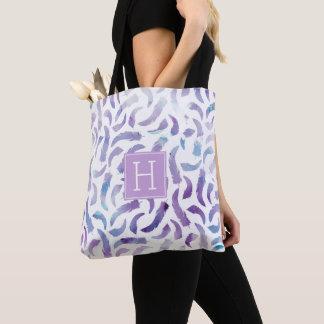 Tote Bag Motif lilas de plumes d'aquarelle