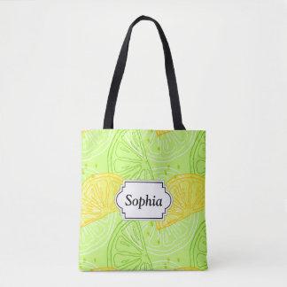 Tote Bag Motif lumineux de citrons d'agrume de vert de