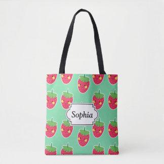 Tote Bag Motif mignon lunatique de caractère de fraises