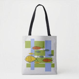 Tote Bag Motif moderne de natation de poissons de la moitié