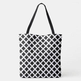 Tote Bag Motif noir et blanc d'illusion optique de grille